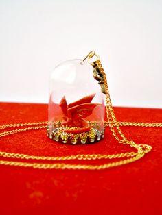 OOAK dragon necklace - The Hobbit - Smaug & his treasure glass terrarium.