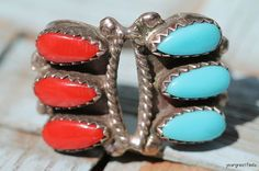 Vintage Southwestern Navajo Style Sterling Silver Turquoise Red Coral Ring