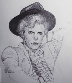 David Bowie in 1974   #art #drawing #sketch #pencilsketch #davidbowie #bowie…