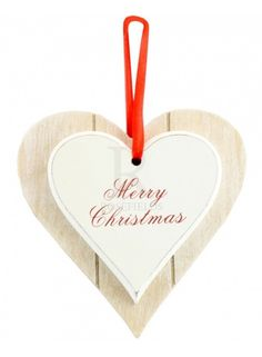 Merry Christmas Double Heart Plaque @ rosefields.co.uk