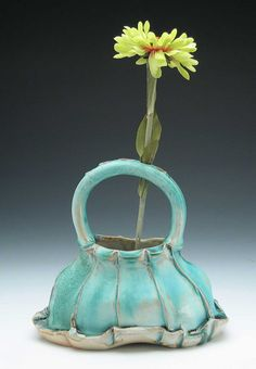 Basket Vase (Turquoise) by Gertrude Graham Smith on Etsy.