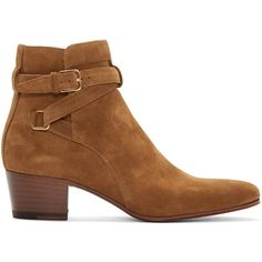Saint Laurent Brown Suede Blake Boots (2.930 BRL) ❤ liked on Polyvore featuring shoes, boots, ankle booties, brown, short boots, suede booties, brown boots, bootie boots and stacked heel booties