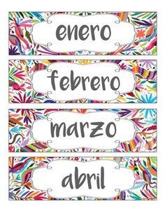 For your Spanish classroom - Display the months of the year in Spanish with this fun and colorful Mexican Otomi theme! These are great to use in pocket charts or on your board! Print each page, laminate them, and display anywhere in your Spanish classroom to add a fun, vibrant, and cultural touch!