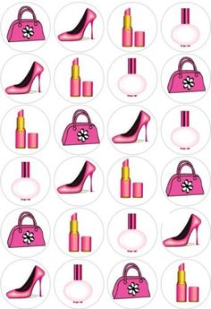 24 Pink Girly Handbag Shoes Cupcake Fairy Cake Toppers Edible Paper Decoration | eBay