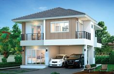 House design plan with 4 bedrooms. Style Modern Tropical House description: Number of floors 2 storey house bedroom 4 rooms toilet 3 rooms maid's room