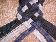 8 string braid tutorial - do this with scrap denim / worn out kids clothes to make bracelets, belts...really you can do any number of strands for a braid, it's so simple. It's practically just basket weaving.