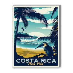 Americanflat Costa Rica Vintage Advertisement on Canvas -- Bathroom?