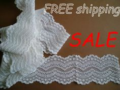 SALE Narrow White Stretch Lace galoon for Lingerie & Sale 50, Wedding Lingerie, Stretch Lace, Top Free, 50th, Stretches, Handmade Items, Free Shipping, Swimwear