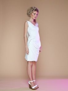 new lace ideas - like the draped fabric  White Dress with Scoop Back | NOT JUST A LABEL