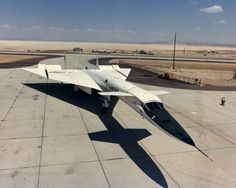 XB-70A parked on a ramp at Edwards Air Force Base in 1967. Originally designed as a Mach 3 bomber, the XB-70A never went into production and instead was used for flight research involving the Air Force and NASA's Flight Research Center FRC, which was a predecessor of today's NASA Dryden Flight Research Center.