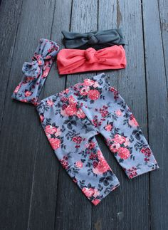 PRODUCT NUMBER: EMGR55678 Adorable, super trendy outfit available in newborn-2T. Prefect for a coming home outfit for your newbie, milestone photoshoots of any age or any occasion! PICTURE SHOWN: Grey Floral Leggings; elegant floral pattern in medium grey, charcoal grey, peach and coral. Headbands shown: matching pattern, charcoal and solid coral (also a few of our other available fabrics, contact us to see more). Shirt (or onesie) is hand stamped with a distressed, vintaged wash rose…