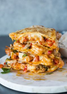 Shrimp Quesadillas A tasty mixture of spicy shrimp, sautéed onions & bell peppers, garlic, and melted cheese crisped in a tortilla. These quesadillas Good Food, Yummy Food, Tasty, Delicious Dishes, Fish Recipes, Mexican Food Recipes, Recipies, Simple Shrimp Recipes, Shrimp Dinner Recipes