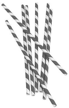 Biodegradable Paper Straws 144ct,Gray/White Stripe - casa.com