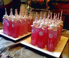 fun and creative way to serve beverages on a baby shower party