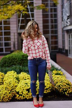 JCrew flannel shirt, distressed jeans, sole society kitten heels, and a leopard clutch | Glass of Glam | A DC Women's Style Blog