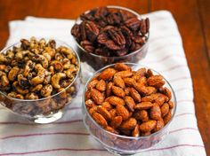 We're nuts for spiced nuts, especially around the holidays. Here are three wildly different recipes to serve or give as gifts: smoky candied almonds, Mexican spiced chocolate pecans, and olive-rosemary cashews.
