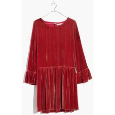 MADEWELL Velvet Bell-Sleeve Dress ($168) ❤ liked on Polyvore featuring dresses, spiced rose, flared sleeve dress, red velvet dress, velvet bell sleeve dress, drop-waist dresses and red dress