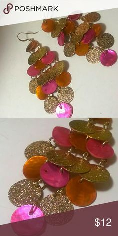 Beautiful Dangles Fushia, gold and orange discs, very soft and fluid dangles.  3 inches. Like new, worn maybe once.  Thanks for stopping by Jewelry Earrings