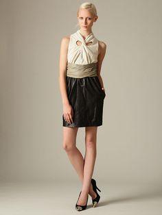 Leather Tie Neck Wrap Dress