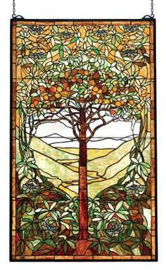 Tree of Life Leaded Glass Panel