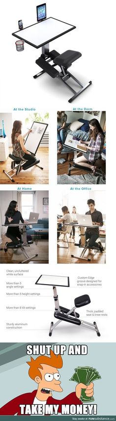 New portable desk design just wow! - Drones - Ideas of Drones - New portable desk design just wow! Kneeling Chair, Portable Desk, Cool Inventions, Best Funny Pictures, Funny Pics, Funny Videos, Game Design, Food Design, Art Studios