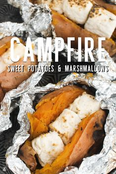Add a campfire twist to a classic holiday favorite with this easy recipe for baked sweet potatoes with roasted marshmallows. Camping Meal Planning, Camping Menu, Camping Foods, Backpacking Meals, Camping Cooking, Camping Dinner Ideas, Camping Food Recipes, Camping Dishes, Camping Desserts