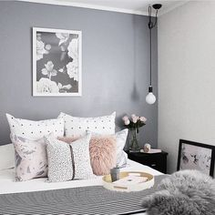 Scandinavian Bedroom Design Scandinavian style is one of the most popular styles of interior design. Although it will work in any room, especially well . Pink Bedroom Decor, Gray Bedroom, Trendy Bedroom, Modern Bedroom, Master Bedroom, Bedroom Wall, Bedroom Inspo, Grey And Dusky Pink Bedroom, Classy Bedroom Ideas