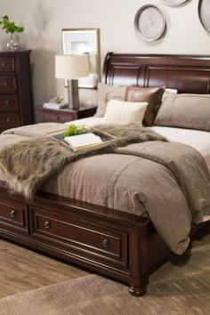 Porter sleigh bed frame with matching dresser and nightstands for ...