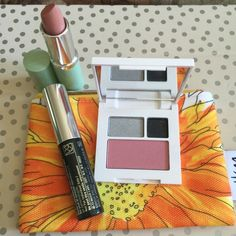New and unused Clinique make up set and bag This set includes 1 Long lasting lipstick. Nude color 1 High impact mascara 1 Eye shadow and blush palette Small cosmetic bag Price Firm Clinique Other