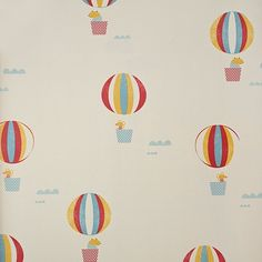 Globus Wallpaper A children's wallpaper featuring adorable mice and hamsters floating in colourful hot air balloons. Printed in yellow, red ...