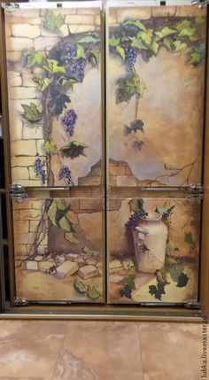 Decor of handmade surfaces. Painting the refrigerator. Internet-shop Fair of Masters.