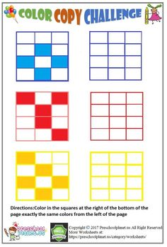 Visual perception worksheet for kids Do you want to improve and practice your students or kids visual perception? This visual perception worksheet is for you.It's all free to print.Color in the squares at the right of [. Preschool Learning Activities, Kindergarten Worksheets, Worksheets For Kids, Therapy Activities, Free Preschool, Sensory Activities, Visual Perceptual Activities, Visual Motor Activities, Nursery Worksheets