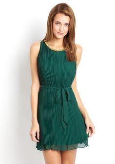 ARK & CO. Accordion-Pleated Jeweled Neckline Dress