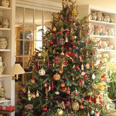 An 8-foot-tall balsam fir holds nearly 400 ornaments.