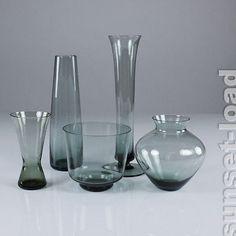 WMF Glas Konvolut Wilhelm Wagenfeld 50er Jahre Turmalin 5teilig alte Vasen, alt