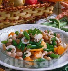 Lajos Mari konyhája - Zöldbabos babsaláta Green Beans, Chicken, Meat, Vegetables, Food, Vegetable Recipes, Eten, Veggie Food, Meals