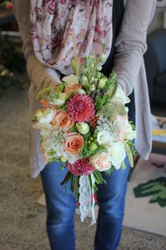Coral, peach and white rustic brides bouquet - Rustic wedding flowers made by Amy's Flowers