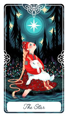 "Poster+size++12""+x++16"" The+Star+for+The+Fairytale+Tarot+deck.+ This+is+the+story+of+Sister+Alyonushka+and+Brother+Ivanushka,+remain+hopeful,+things+will+get+better."
