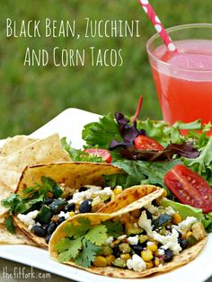 Black Bean, Zucchini and Corn Tacos -- a light and healthy recipe for easy summer suppers, meatless Mondays or when you need to provide a vegetarian option. #MeatlessMonday | thefitfork.com