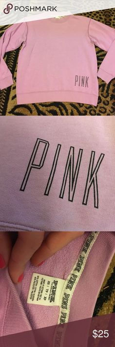 1/13 VS PINK lilac sweatshirt Vs pink lilac sweatshirt. Gently used. Small discoloration shown in pic but you honestly won't notice. Overall good condition! PINK Victoria's Secret Tops Sweatshirts & Hoodies