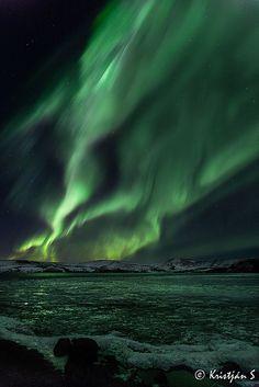 Islandia. Aurora Borealis, Hafnarfjordur