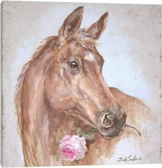 iCanvas French Farmhouse Series: Horse With Rose (Pink) Gallery Wrapped Canvas Art Print by Debi Coules Canvas Artwork, Canvas Art Prints, Painting Prints, Framed Prints, Art Paintings, Animal Paintings, Acrylic Paintings, Barn Wood Frames, French Farmhouse