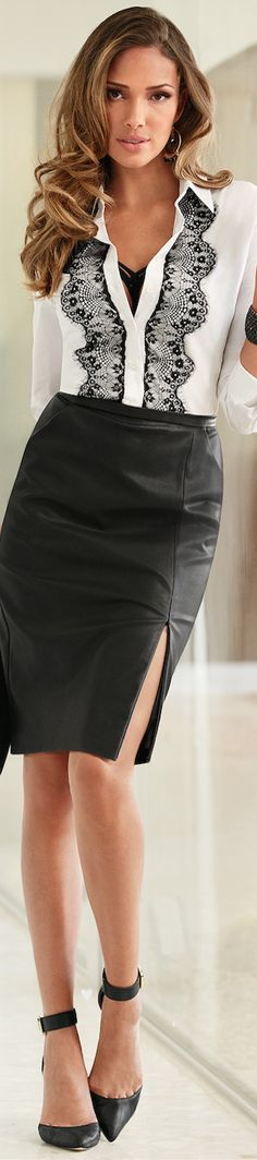 Boston Proper ● Faux Leather Pencil Skirt