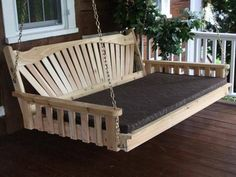 Red Cedar Fanback Hanging Swing Bed by ALFurnitureCo on Etsy Bed Furniture, Garden Furniture, Outdoor Furniture, Outdoor Decor, Outdoor Living, Pallet Swing Beds, Diy Swing, Porch Bed, Bed Cushions