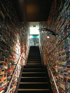 Book-lined staircase @ Australia's Deakin University Library