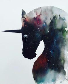 Totally LOVE this piece by Lora Zombie, 'Dark Unicorn full of infinite space'