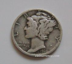 1936D US Mercury Dime silver coin