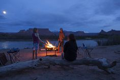 Roasting Marshmallows on the beach at camp along the Fisher Towers Whitewater Section of the Colorado River, Moab, Utah. Photo by nicolemorgenthau.com