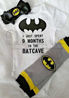 Baby Boy or Girls First Batman Shirt - Batcave Onesie - Hospital Outfit - Coming…