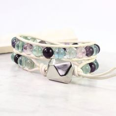 Leather Wrap Bracelet White Fluorite Gemstone Winter Fashion Double Wrap Purple Green Blue Lavender